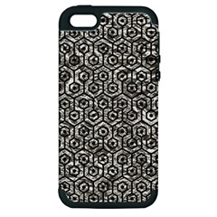 Hexagon1 Black Marble & Silver Foil Apple Iphone 5 Hardshell Case (pc+silicone) by trendistuff