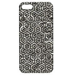 Hexagon1 Black Marble & Silver Foil Apple Iphone 5 Hardshell Case With Stand by trendistuff
