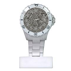 Hexagon1 Black Marble & Silver Foil Plastic Nurses Watch by trendistuff