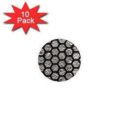 Hexagon2 Black Marble & Silver Foil 1  Mini Magnet (10 Pack)  by trendistuff