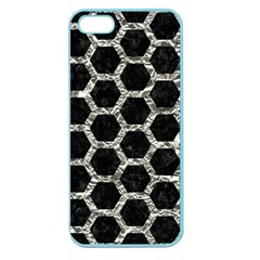 Hexagon2 Black Marble & Silver Foil (r) Apple Seamless Iphone 5 Case (color) by trendistuff