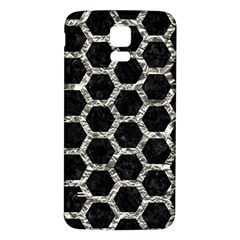 Hexagon2 Black Marble & Silver Foil (r) Samsung Galaxy S5 Back Case (white) by trendistuff