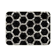 Hexagon2 Black Marble & Silver Foil (r) Double Sided Flano Blanket (mini)