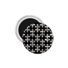 Puzzle1 Black Marble & Silver Foil 1 75  Magnets by trendistuff