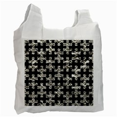 Puzzle1 Black Marble & Silver Foil Recycle Bag (two Side)  by trendistuff
