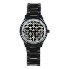 Puzzle1 Black Marble & Silver Foil Stainless Steel Round Watch by trendistuff