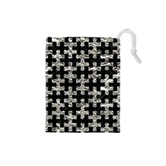Puzzle1 Black Marble & Silver Foil Drawstring Pouches (small)  by trendistuff