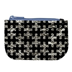 Puzzle1 Black Marble & Silver Foil Large Coin Purse