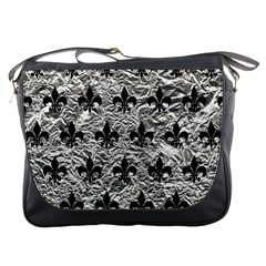 Royal1 Black Marble & Silver Foil (r) Messenger Bags by trendistuff