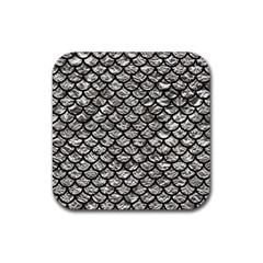 Scales1 Black Marble & Silver Foil Rubber Square Coaster (4 Pack)  by trendistuff