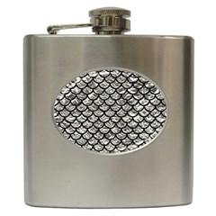 Scales1 Black Marble & Silver Foil Hip Flask (6 Oz) by trendistuff