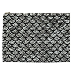 Scales1 Black Marble & Silver Foil Cosmetic Bag (xxl)  by trendistuff