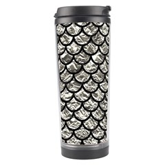 Scales1 Black Marble & Silver Foil Travel Tumbler by trendistuff