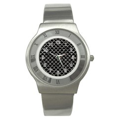 Scales1 Black Marble & Silver Foil (r) Stainless Steel Watch by trendistuff