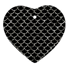 Scales1 Black Marble & Silver Foil (r) Heart Ornament (two Sides) by trendistuff