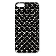 Scales1 Black Marble & Silver Foil (r) Apple Seamless Iphone 5 Case (clear) by trendistuff