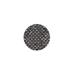 Scales2 Black Marble & Silver Foil 1  Mini Magnets by trendistuff