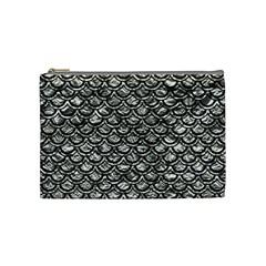 Scales2 Black Marble & Silver Foil Cosmetic Bag (medium)