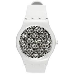 Scales2 Black Marble & Silver Foil Round Plastic Sport Watch (m) by trendistuff
