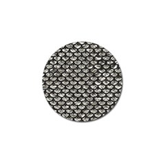 Scales3 Black Marble & Silver Foil Golf Ball Marker by trendistuff