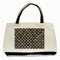 Scales3 Black Marble & Silver Foil Basic Tote Bag by trendistuff