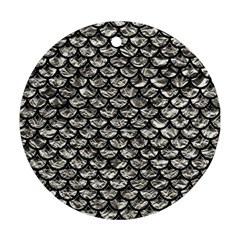 Scales3 Black Marble & Silver Foil Round Ornament (two Sides) by trendistuff