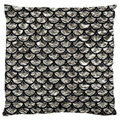 Scales3 Black Marble & Silver Foil Large Cushion Case (one Side) by trendistuff