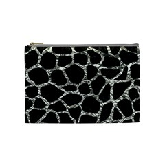 Skin1 Black Marble & Silver Foil Cosmetic Bag (medium)  by trendistuff