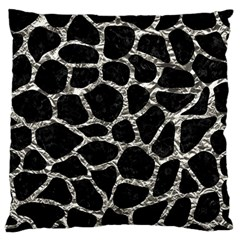 Skin1 Black Marble & Silver Foil Standard Flano Cushion Case (two Sides) by trendistuff