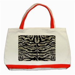 Skin2 Black Marble & Silver Foil Classic Tote Bag (red) by trendistuff