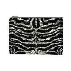 Skin2 Black Marble & Silver Foil (r) Cosmetic Bag (large)  by trendistuff