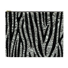 Skin4 Black Marble & Silver Foil (r) Cosmetic Bag (xl) by trendistuff