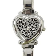 Skin5 Black Marble & Silver Foil (r) Heart Italian Charm Watch by trendistuff