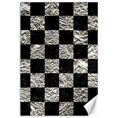 Square1 Black Marble & Silver Foil Canvas 12  X 18
