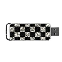 Square1 Black Marble & Silver Foil Portable Usb Flash (two Sides) by trendistuff