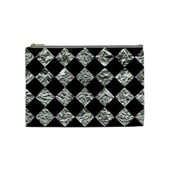 Square2 Black Marble & Silver Foil Cosmetic Bag (medium)  by trendistuff