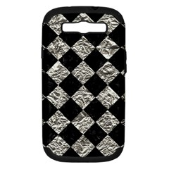 Square2 Black Marble & Silver Foil Samsung Galaxy S Iii Hardshell Case (pc+silicone) by trendistuff