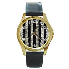 Stripes1 Black Marble & Silver Foil Round Gold Metal Watch by trendistuff