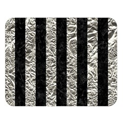 Stripes1 Black Marble & Silver Foil Double Sided Flano Blanket (large)  by trendistuff