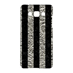 Stripes1 Black Marble & Silver Foil Samsung Galaxy A5 Hardshell Case  by trendistuff