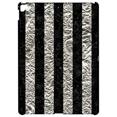 Stripes1 Black Marble & Silver Foil Apple Ipad Pro 12 9   Hardshell Case by trendistuff