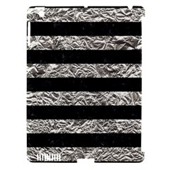 Stripes2 Black Marble & Silver Foil Apple Ipad 3/4 Hardshell Case (compatible With Smart Cover) by trendistuff