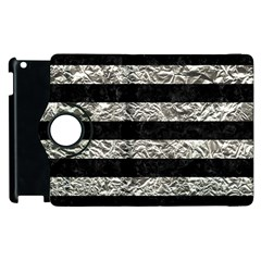 Stripes2 Black Marble & Silver Foil Apple Ipad 3/4 Flip 360 Case by trendistuff