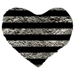 Stripes2 Black Marble & Silver Foil Large 19  Premium Flano Heart Shape Cushions by trendistuff