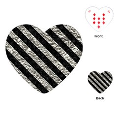 Stripes3 Black Marble & Silver Foil Playing Cards (heart)  by trendistuff
