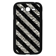 Stripes3 Black Marble & Silver Foil Samsung Galaxy Grand Duos I9082 Case (black) by trendistuff