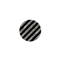 Stripes3 Black Marble & Silver Foil (r) 1  Mini Buttons by trendistuff