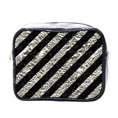 Stripes3 Black Marble & Silver Foil (r) Mini Toiletries Bags by trendistuff
