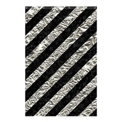 Stripes3 Black Marble & Silver Foil (r) Shower Curtain 48  X 72  (small)  by trendistuff