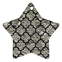 Tile1 Black Marble & Silver Foil Star Ornament (two Sides) by trendistuff
